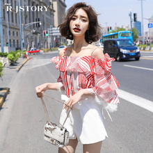 Sweet chiffon shirt womens summer short-sleeved 2018 new tide word collar strapless super fairy cover stomach elegant shirt