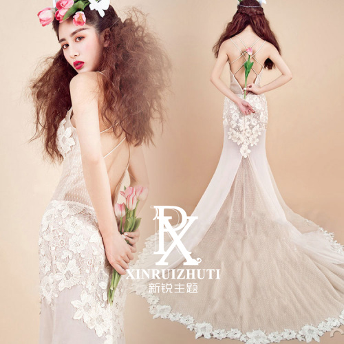 The new exhibition theme wedding dress photo studio beautiful lace halter dress art theme