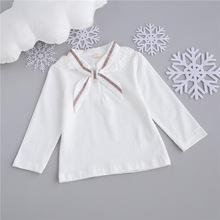 Spring girl child cotton shirt Lapel all-match 1-2-3 years old female baby baby coat Long Sleeved T-shirt