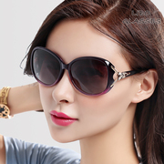 2017 new polarized sunglasses, women's large frame, round face, long face, elegant sunglasses, personality, avant-garde, driving glasses