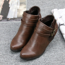 The British foreign trade new winter Chelsea retro with coarse elastic high-heeled boots boots boots Martin zipper buckle