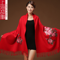 Shanghai story authentic scarves women marry thickened red yarn in autumn and winter Peony wool Cashmere shawl dual-use