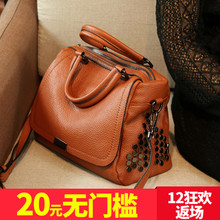 2017 new winter tide female bag head layer cowhide portable satchel fashion all-match large leather handbag