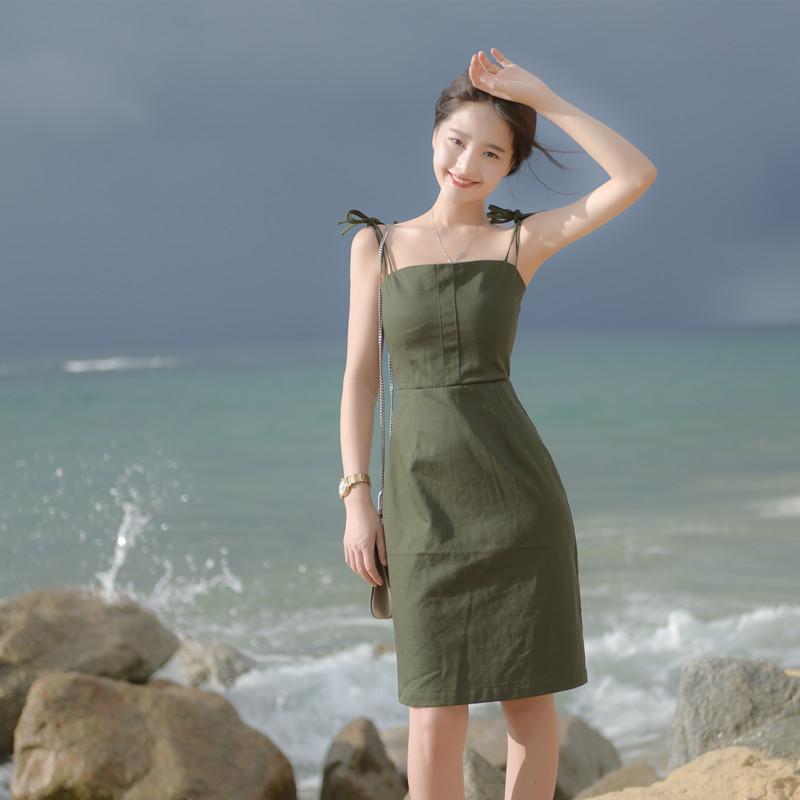 大喜自制 修身显气质三色吊带包裙高腰纯色一字肩吊带连衣裙