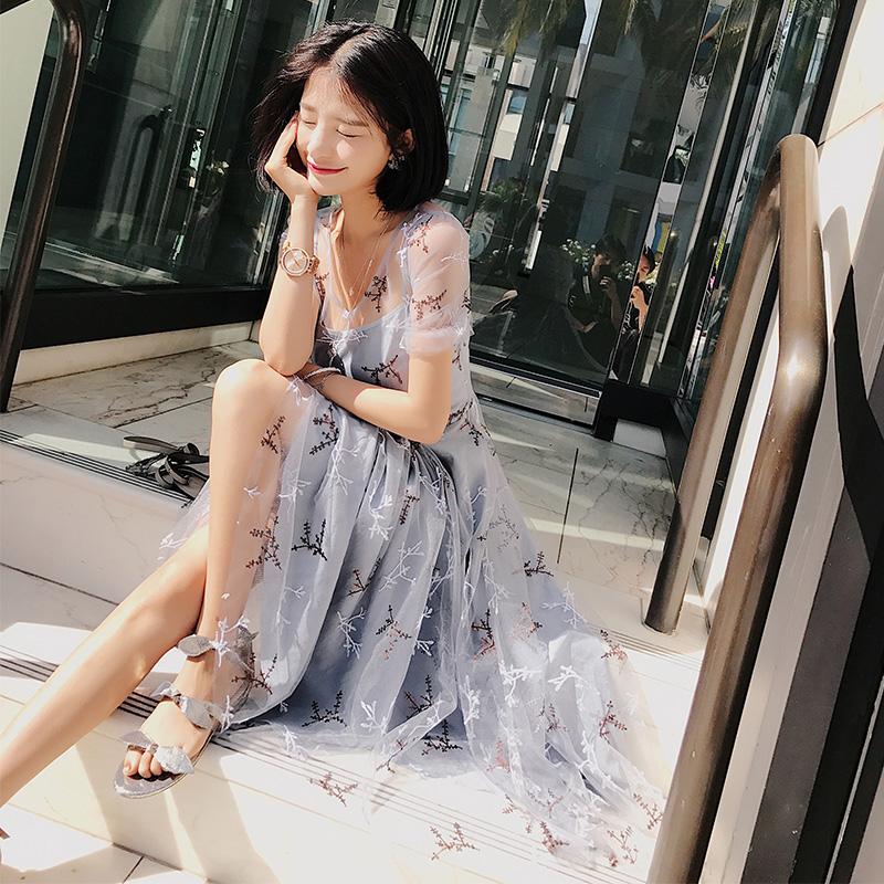 大喜自制怦然心动 薄网纱重工绣花钉珠片夏季新款连衣裙分长短款