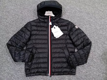 Genuine Moncler Menggu 18 spring and summer color stripe three color stripe printing hooded mens thin section down jacket