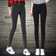 Jeans female spring and autumn 2018 new Korean version of the thin summer high waist black tight feet pencil long pants tide