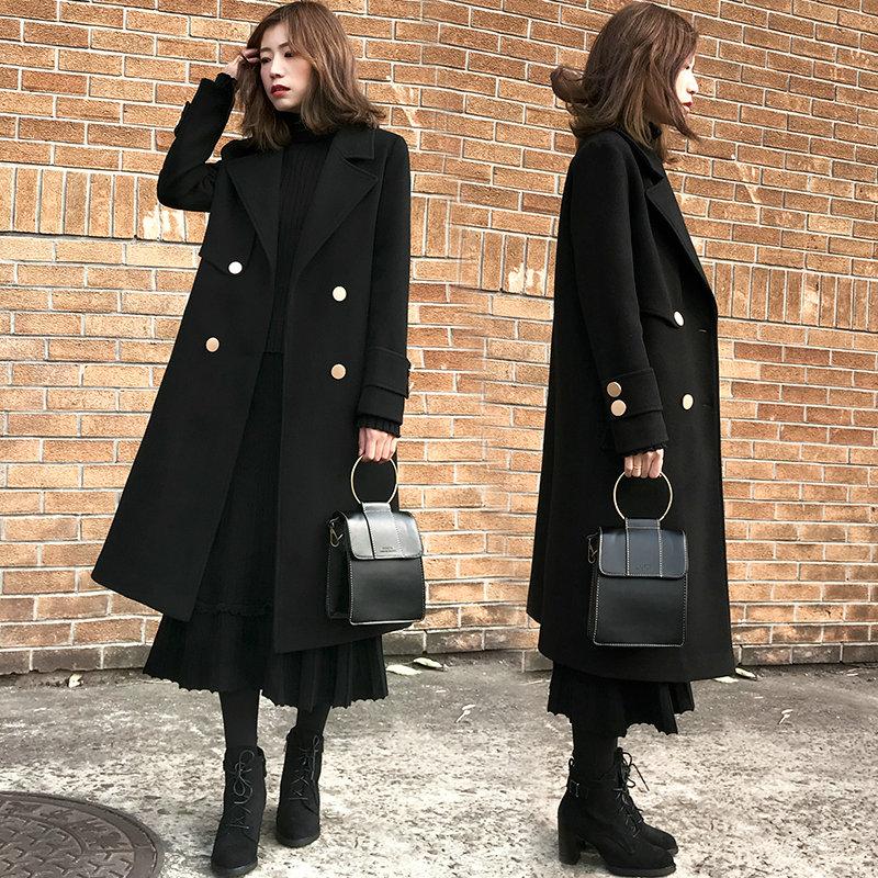 2017新款韩版宽松加棉加厚毛呢外套女冬中长款赫本风黑色呢子大衣