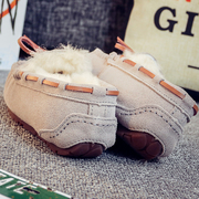 Leather shoes with cashmere Doug winter new Korean all-match thick warm flat casual mother snow shoes