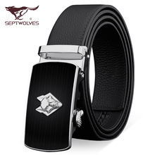 Genuine leather belt buckle Septwolves men's automatic pure head layer cowhide belt belt business brand wolf tide