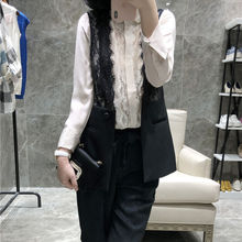 modern French lace black vest female 2018 new foreign style stitching fashion short jacket