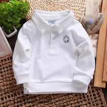 1-2-3-4 baby autumn wear POLO shirts boys long sleeve white t shirt baby shirt lapel jacket at the end of the tide