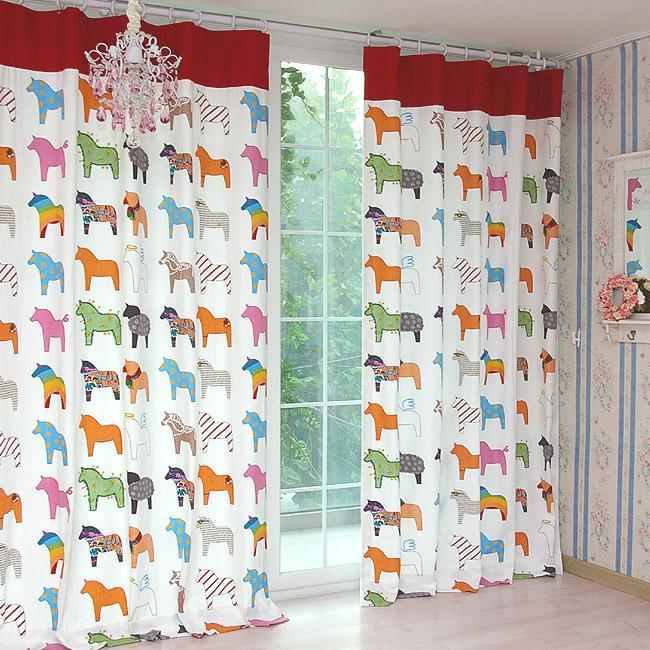 现代田园卡通小马印花窗帘布料加厚帆布遮光窗帘儿童窗帘成品定制