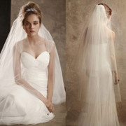 The new bride simple plain yarn Korean double long veil bride wedding without side Comb Wedding face covering veil