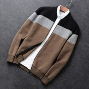 The spring and autumn tide male Korean sweater cotton knit collar youth men's knitted cardigan sweater coat zipper