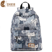 DHH Korean version of the new college campus wind canvas bags backpack backpack bag printing simple high school students