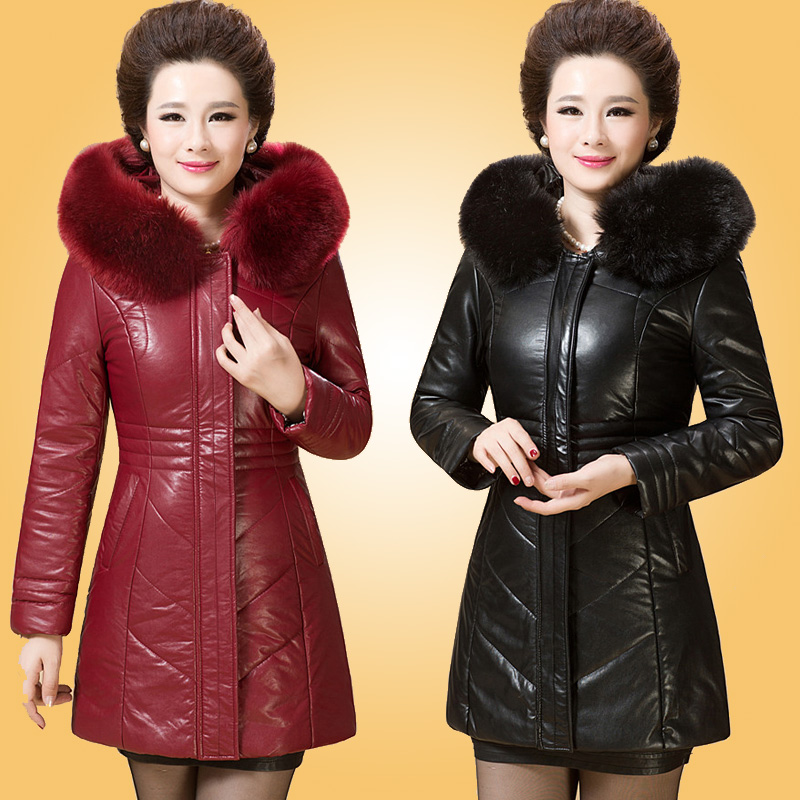 The elderly women's winter long middle-aged lady cotton clothing leather coats whom mother coat