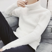 The new winter men's knit turtleneck sweater thickened sleeve head sweater coat young Korean male tide
