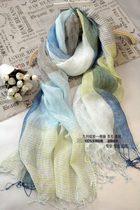 Fabric linen tassel thin ladies scarves autumn Japanese blue stripe long fan of literature and art Sun shawl