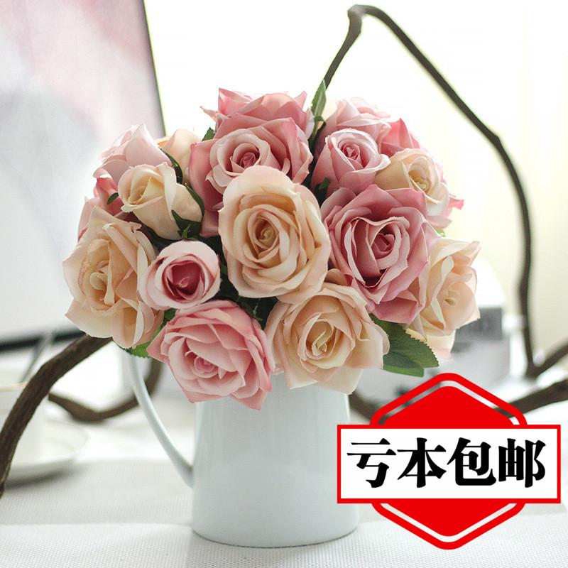 客厅卧室摆放仿真玫瑰花艺假花束餐桌面茶几装饰摆件家居绢花饰品