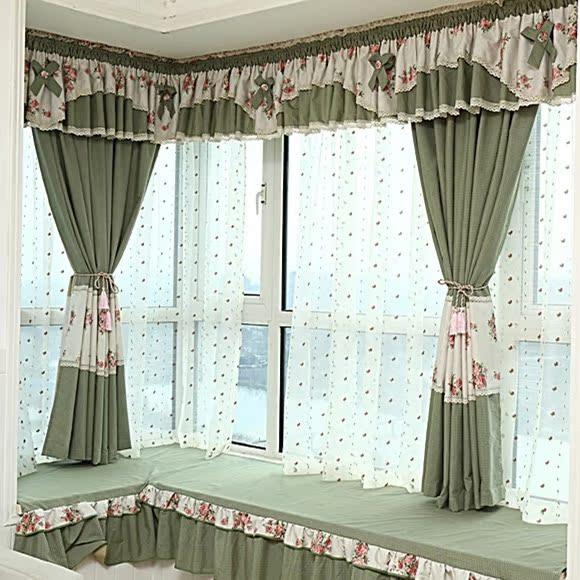 经典美式乡村田园风格飘窗窗帘 咖啡色复古格子拼接舒曼棉麻布