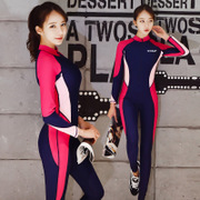 Korean diving suit, swimsuit, female one-piece, sunscreen, long sleeve trousers, hot spring jellyfish, snorkeling lovers, surfing swimwear