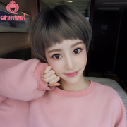 Seven street queen dog eating bangs, wig, short hair, Bobo head repair face, fluffy, natural and realistic, South Korea sweet and lovely