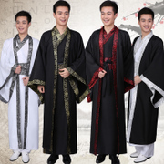 Male scholar costume Hanfu straight Qin Tang cloak of spring and autumn and Warring States three Han Dynasty minister ancient robes