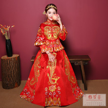Show Wo clothing 2018 new wedding toast clothing bride dress Chinese wedding costume wedding dress show kimono embroidery clothing