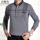 Dad installed middle-aged men's long-sleeved T-shirt spring and autumn lapel large size autumn in the elderly men's T-shirt
