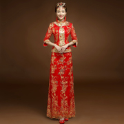 The bride toast clothing cheongsam show 2017 new Chinese style wedding dress suit Wo Long Red bride wedding dress