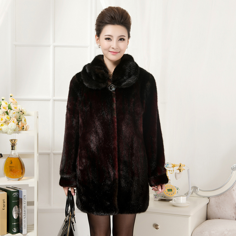 Middle-aged women's clothing fashionable mother long warm winter coat in heavy loading code imitation fur imitated mink coat
