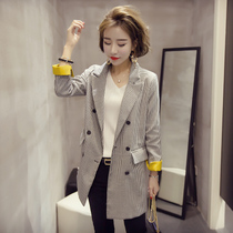 Xiao Jia spring 2017 long retro plovers in the Korean version of the new long sleeve Plaid leisure suit Jacket Women