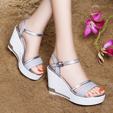 2017 summer new Korean female high-heeled sandals all-match fashion word buckle slope with thick bottom waterproof shoes