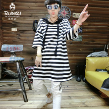 Europe and the United States 2017 summer new Korean hooded casual fashion women girls long loose striped T-shirt