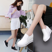 The increase in women's autumn pedal white shoes casual shoes female all-match muffin thick bottom slope documentary loafer shoes