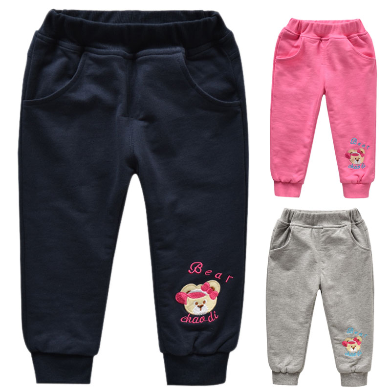 Female baby double cotton trousers kids pants 2017 authentic spring and autumn new bear children girls folder