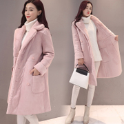 2017 new winter coat with South Korean female lamb cashmere coat in the long section of Korean students thick suede