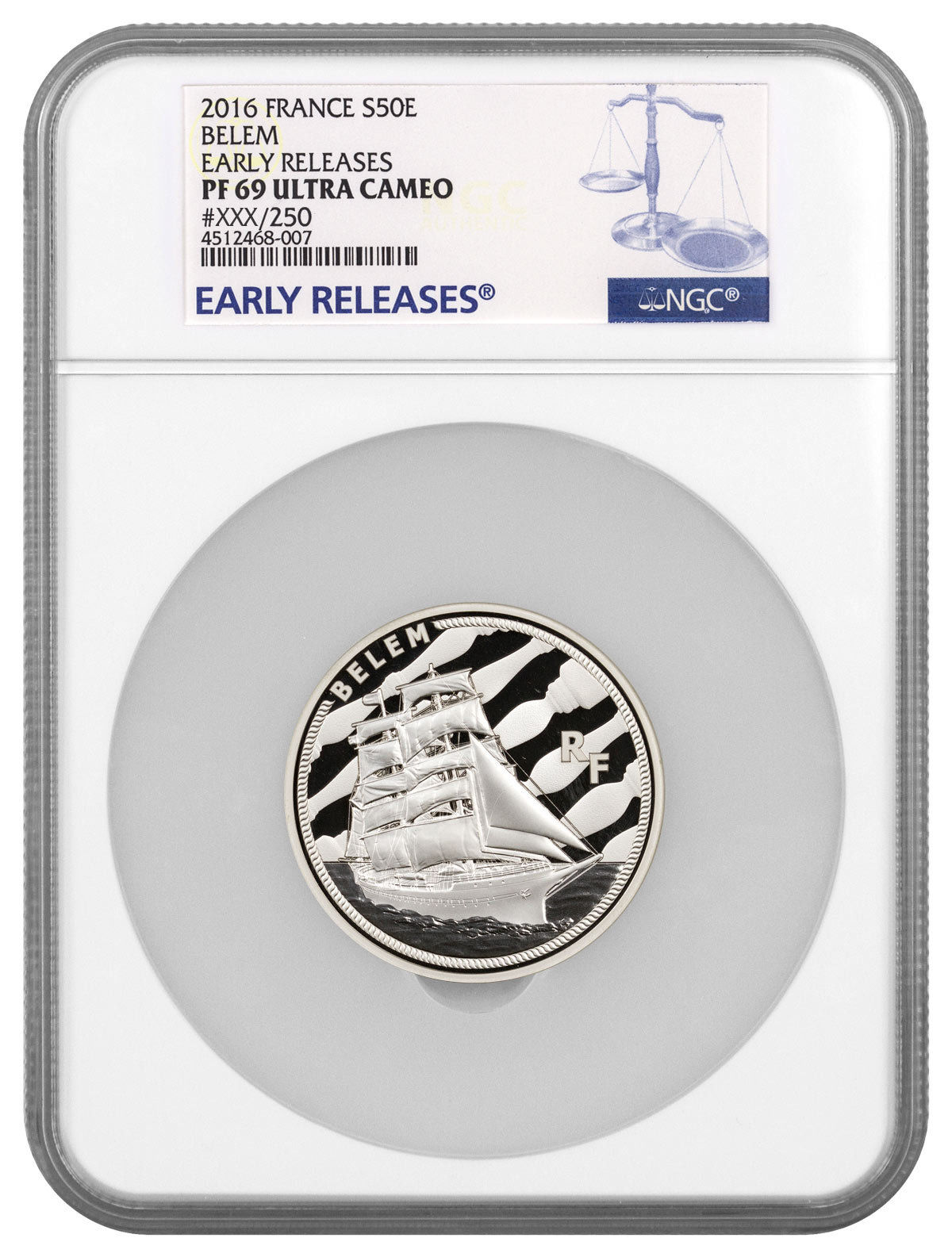 Haining tide France 2016 great ship series BELEM ship 5 Ounce Silver NGC-PF69