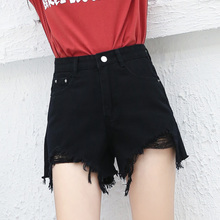 2018 new Korean students high waist hole flash black denim shorts female summer loose wide leg hot pants