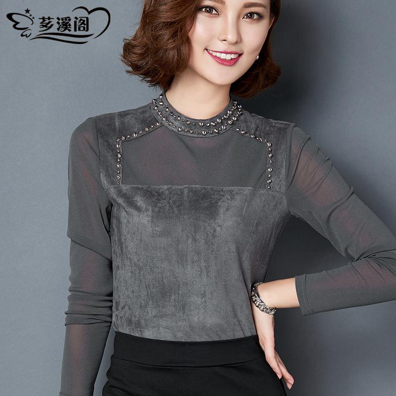 2015秋冬加绒修身T恤小衫 韩版大码立领麂皮绒打底衫女长袖上衣女