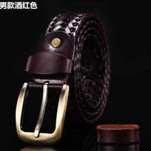 Wang Xiaojian with fine gifts woven woven belt belt belt men cow leather belt