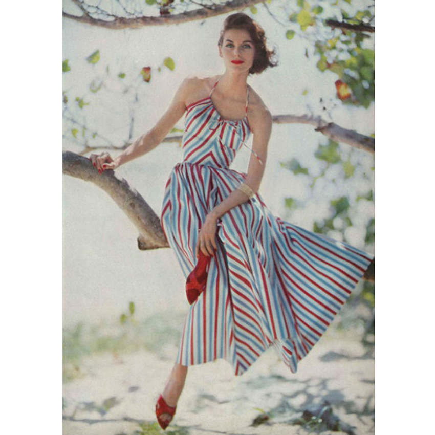 大喜自制 vintage 度假性感绑带夏季复古彩色条纹无袖连衣裙女