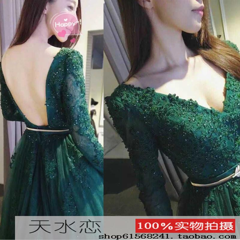 ElieSaab big toast backless dress green dress long-sleeved deep V stage presided over the red carpet gown
