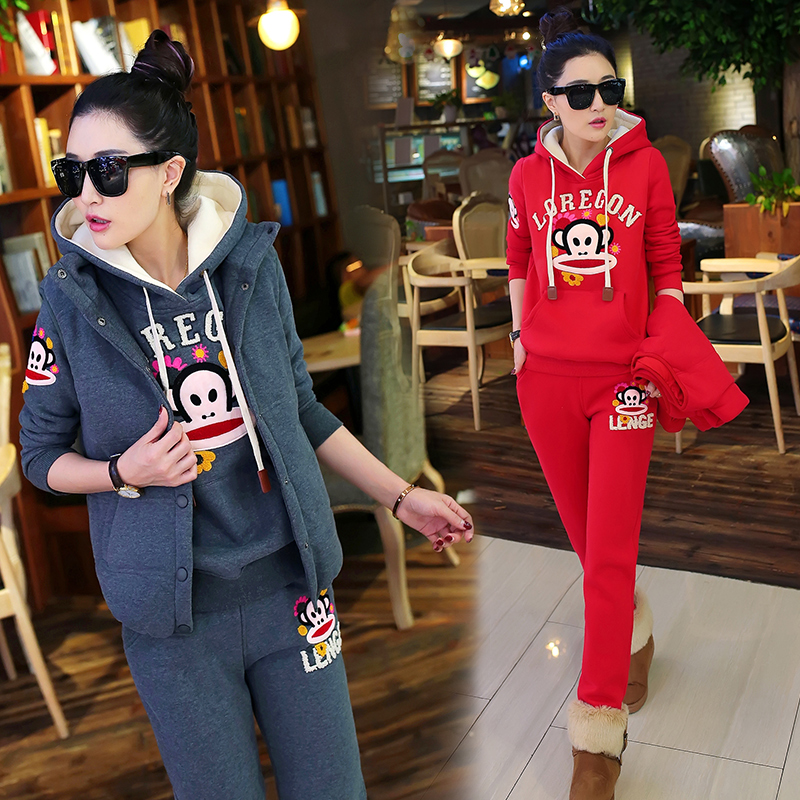 Purchasing genuine 2015 Paul Frank winter casual sportswear girl Korean version of large size thin sweater set of three women