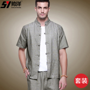 Han old code Chinese shirt shuaiyang linen suit in men's costume male male lay clothes in summer