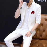 Summer men's thin stripe, small sleeve suit, Korean version, slim fashion, seven point sleeve, two suits