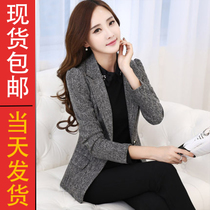 Small Blazer womens spring fashion career OL temperament a button size slim slimming short winter suit