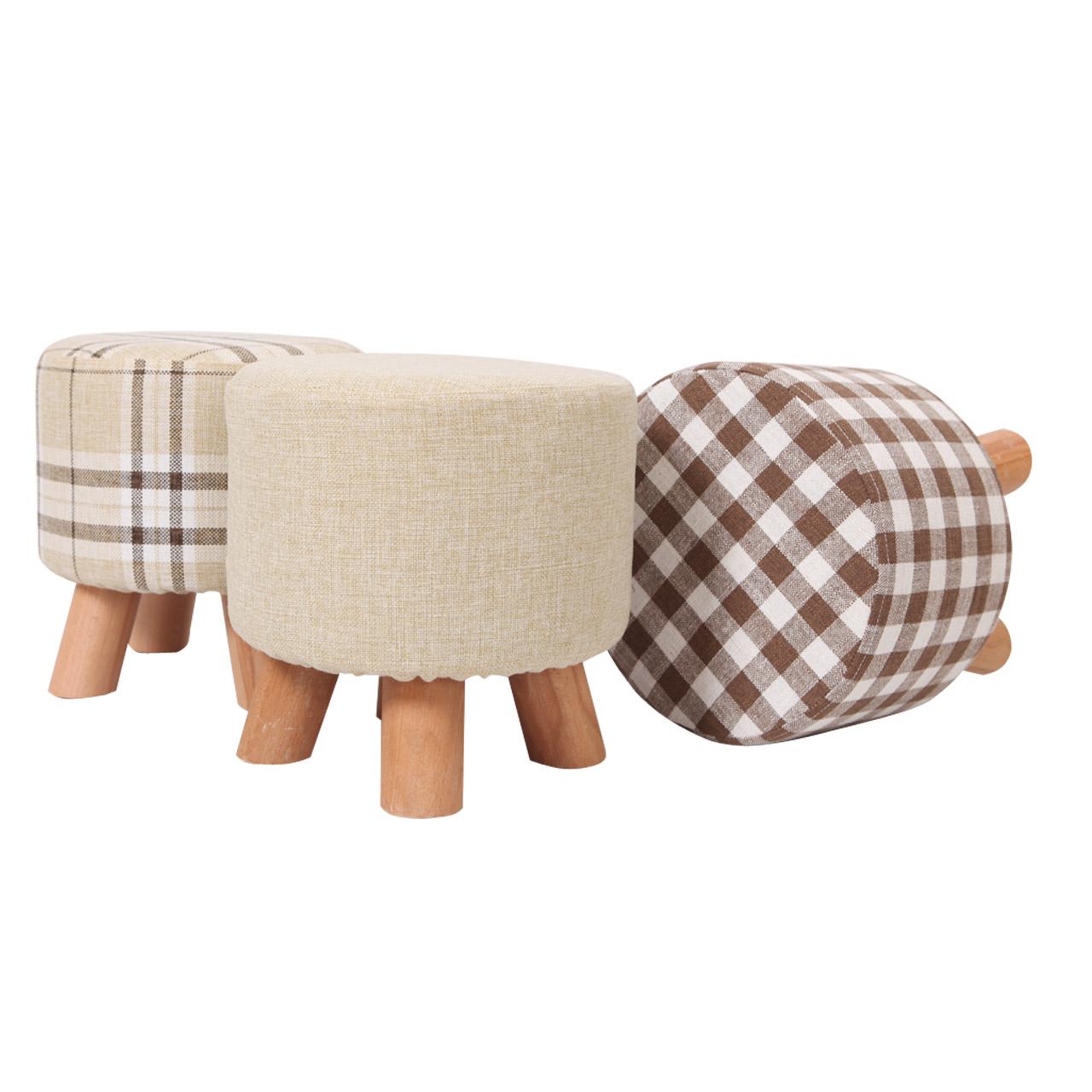 窝窝换鞋凳时尚小圆凳实木矮凳创意穿鞋凳布艺沙发凳小板凳小凳子