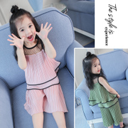 Kids summer suit for girls 2017 new female Korean 3 western style two piece children 4 years old baby summer Chiffon